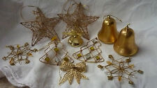 VINTAGE GOLD CHRISTMAS DECORATIONS MIXED LOT BELLS JEWEL FLAKE TREE WIRE STARS