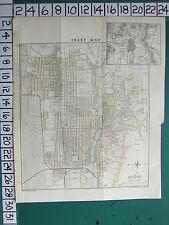 1913 JAPAN JAPANESE TOURIST MAP KYOTO CITY PLAN ~ PUBLIC BUILDINGS STREETS PARK