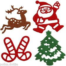 Felt Christmas Shapes Self Adhesive Stickers Motifs Tree Santa Reindeer 16pcs
