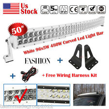White 50inch 480W Curved LED Light Bar + Mount Brackets Fit For Chevy/GMC Pickup