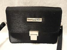 Donna Karan Black Sparkle Satin Evening Purse Clutch Shoulder Cross Body Bag