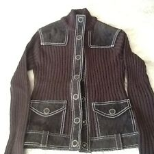 River Island Suede and Wool Brown Cardigan Jacket - Size 8 - BNWT