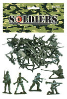 BAG OF 50 GREEN PLASTIC TOY SOLDIERS ARMY COMBAT PLATOON STORY PARTY LOOT BAG035
