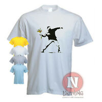 Banksy Flower bomber thrower urban art graffiti printed t-shirt not transfer!