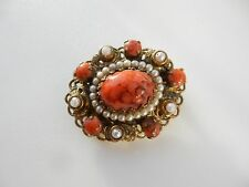 Vintage Coral & Pearl Filigree Bouquet Brooch Pin