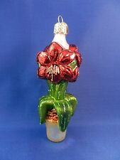 Old World Christmas Ornament Amaryllis Garden Glass Blown Flower NWT 36165