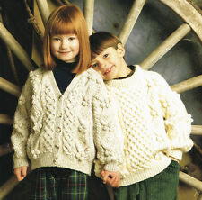 Childrens aran  Knitting Pattern:instructions- jumper cardigan sizes 24-34 chest