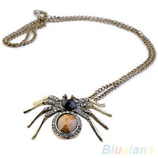 Retro Womens Crystal Resin Spider Bead Necklace Dangle Charm Pendant Long Chain