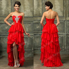 BEADS High Low Long Red Cocktail Masquerade Ball Gown Party Evening Prom Dresses