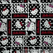 BonEful Fabric FQ Cotton Quilt Pink White Black HELLO KITTY Word Polka Dot Block