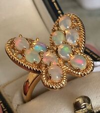14k GOLD ON SILVER  FIERY OPAL Butterfly RING SIZE T (1.500cts