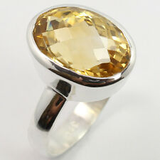 925 Solid Sterling Silver New Collection Ring Size US 7.75 Real CITRINE Gemstone
