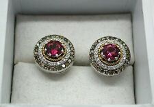 Fabulous Vintage 14ct White Gold Pink Tourmaline &  Coloured Diamond Earrings