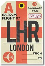 LHR - London England Airport Baggage Tag - NEW Travel POSTER (tr484)