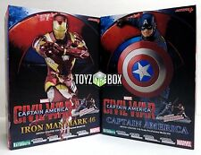 In STOCK Kotobukiya Captain America + Iron Man MK 46 SET Civil War Artfx+ Statue