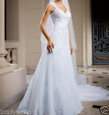 Lace  A-Line Wedding Dress V Neck Bridal Gown Custom Size 4-6-8-10-12-14-16+18+