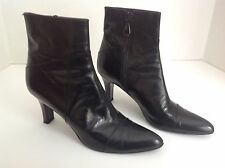 "Authentic Sonia Rykiel leather 3"" heel ankle high black boots size 37 VGUC"