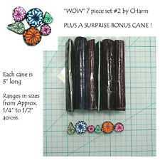 "WOW Polymer clay cane set of 7 canes EACH  3"" Long design by CHarm #2"