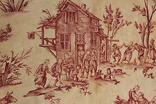 Toile de Jouy antique fabric material red Scenes Flamandes ( Flemish scenes )