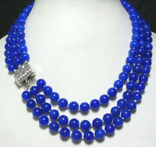 3 Rows 8 mm Lapis lazuli White Gold Plated Clasp Necklace