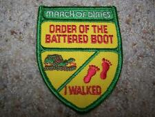 Vintage 1970s MARCH OF DIMES ORDER OF BATTERED BOOT I WALKED Sew-On Patch NEW