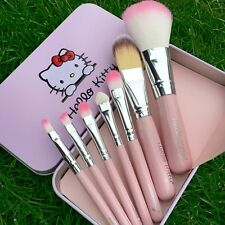 Pro Pink Hello Kitty Makeup Cosmetic Brush 7PCS Set Kit Iron Metal Box Cute Gift