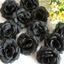 20x Black Rose Heads Artificial Silk Flower Hair Clips Wedding Decor 2.75""