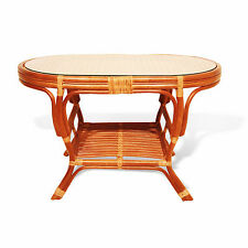 Coffee Oval Table with Glass Top Pilangi Wicker Rattan Color Cognac