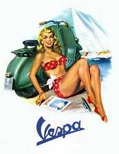 VESPA Vintage Pinup Girl Red Bikini QUALITY CANVAS PRINT A4 Retro Scooter Poster