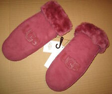 UGG Gloves Classic Logo Sheepskin Shearling Mittens Sangria L/XL NEW