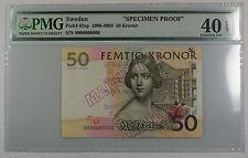 1996-2003 Sweden 50 Kronor Note Pick #62sp PMG 40 Ext Fine EPQ Details Better