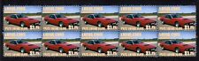 1973 LOTUS ELITE STRIP OF 10 MINT CAR STAMPS