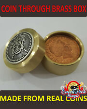 COIN THRU BRASS BOX MAGIC TRICK - VIDEO IN DESCRIPTION - AMAZING CLOSE UP MAGIC!