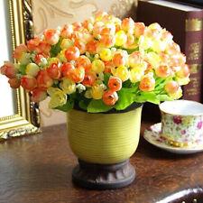 15pcs Flower Heads Bouquet Silk Rose Flower Wedding Home Party Decor orange+red