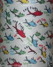 "7/8"" ONE FISH TWO BLUE RED FISH DR SEUSS GROSGRAIN RIBBON CAT IN THE HAT"