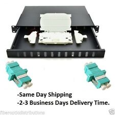 Fiber Optic Patch Panel,Enclosure, 1U,Rackmount,12 Port Loaded LC Aqua Duplex