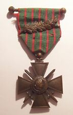 VINTAGE WW I French Croix de Guerre Medal with PALM 14-16 on Bar
