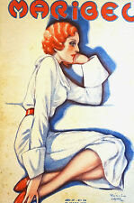 Zappa Maribel 1935 RED HEAD LADY Deep in Thought Spanish Art Deco Cover Matted
