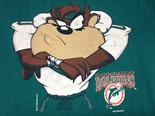 Vintage Tasmanian Devil Miami Dolphins T-Shirt Taz Warner Bros Cartoon NFL
