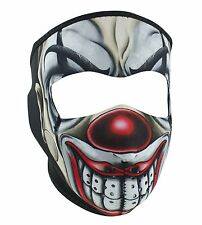 Chicano Red Nosed Clown Joker Neoprene Full Face Mask Biker Reversible To Black