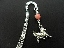 A TIBETAN SILVER PINK JADE  BEAD  & HORSE CHARM BOOKMARK. NEW.