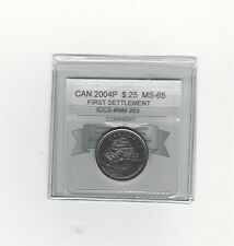 **2004P First Settlement** Coin Mart Graded Canadian,  25 Cent, **MS-65**ICCS#