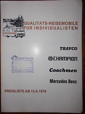 Liste de prix voyage portable camping voiture MOTORHOME CAMPING-CAR champion travco