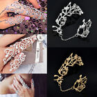 Fashion Rhinestone Crystal Studded Double Full Finger Ring Jewelry Adjustable
