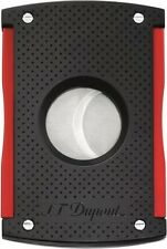 S.T. DUPONT DOUBLE BLADE 50 RING GAUGE CIGAR CUTTER BLACK MATTE/ RED ** NEW **