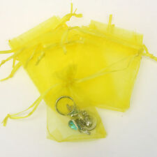 25Pcs Organza Wedding Party Favor Gift Candy Bag Packing 7X9cm(Yellow)