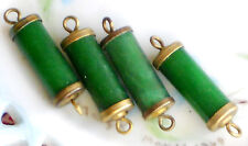 Vintage Lucite Connectors,Tube Brass Loops Shanks, Atomic Eames Dangle Jade #216