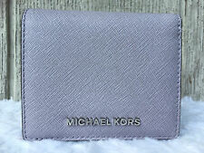 NEW Michael Kors Jet Set Travel Flap Card Holder Wallet Saffiano LILAC SILVE $68