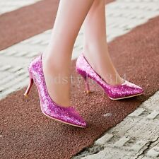 Women's Pointed toe Sequins Slip on stiletto Sexy Plus Size Wedding Dress shoes