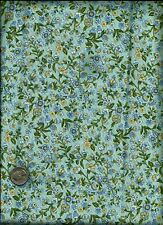 Small Leaf & Floral Bouquet Print multi on sky blue Fabric by David Textile